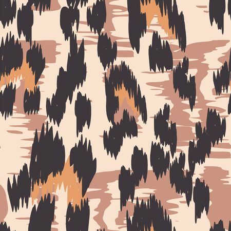 Ebony Panther Dyed Vector Seamless Pattern. Burnt Abstract Leopard Handmade Tiles Texture. Graphite Fabric Design Graffiti Print. Chocolate Jaguar Printed Tie.