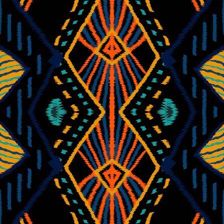 Surf Ogee Tribal. Cornflower Tribal Vector Seamless Pattern. African Tie Dye Ogee Background. Cornflower Aztec Drawing Ornament. Drawn Chevron Navajo.