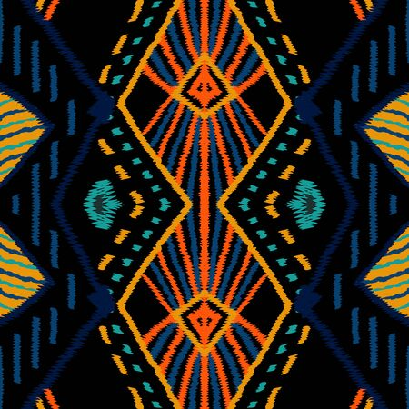 Surf Ogee Tribal. Cornflower Tribal Vector Seamless Pattern. African Tie Dye Ogee Background. Cornflower Aztec Drawing Ornament. Drawn Chevron Navajo.