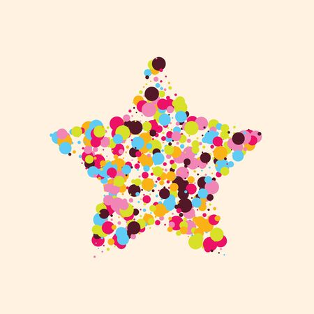 Festive background with multicolored confetti. Yellow, pink, blue circles but against a white background. Flying confetti. Vettoriali