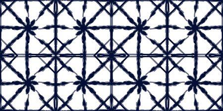 Indigo Carpet Vector Seamless Pattern. Blue Boho Tie Dye African Texture. Pink Tribal Graphic Wallpaper. Ocean Strip Retro Indonesian Ornament. Ethnic Drawing Background Reklamní fotografie - 138378711