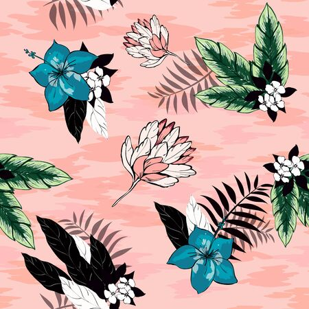 Hibiscus flowers and tropical leaves vector seamless pattern on a pink background. Black and white palm leaves. Turquoise hibiscus flowers. Textile exotic floral pattern.
