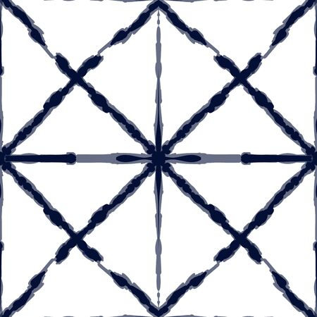 Gloss Tribal Vector Seamless Pattern. Maroon Geometric Line Japan Print. Blue Striped Handmade Design. Crimson Shibori Abstract Indian Wallpaper. Ethnic Retro Texture Reklamní fotografie - 138379104