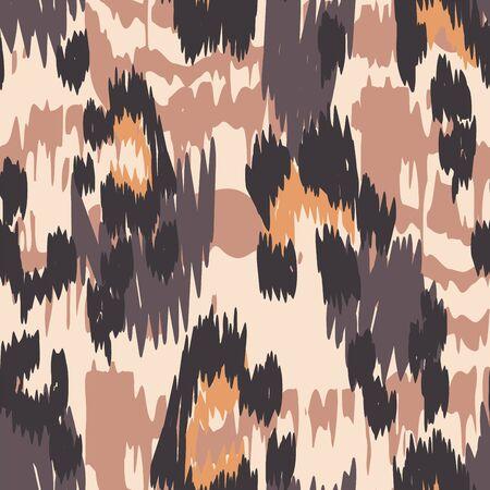 Burnt Cheetah Crumpled Vector Seamless Pattern. Yellow Crumpled Cheetah Handmade Tile Art Designs. Sepia Printed Tie Pattern. Ebony Cheetah Handmade Tile Art.