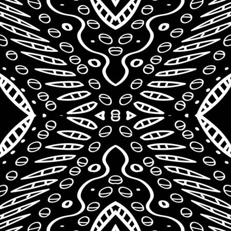 Mud Navajo Zigzag Traditional Vector Seamless Pattern. Ikat Rustic Print. White Drawn Mexico Wallpaper. Graphic Textile Graphite Illustration. Black African Art Pattern. Banque d'images - 138379169