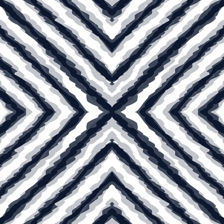 Indigo Tile Vector Seamless Pattern. Blue Retro Chevron Aztec Ornament. Cold Striped Textile Texture. Surf Tribal Vintage Indonesian Background. Japan Watercolor Wallpaper Ilustrace
