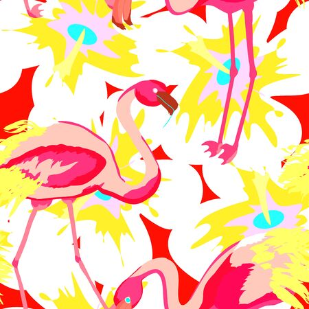 Pink flamingo seamless pattern with tropical flowers and leaves.