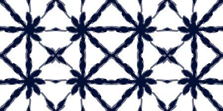 Scarlet Batik Vector Seamless Pattern. Indigo Arabic Tile Indonesian Print. Coral Strip Vintage Texture. Surf Striped Geometric Japanese Wallpaper. Traditional Elegant Design Vecteurs
