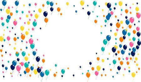 Fondo de felices fiestas de bolas inflables voladoras brillantes. Celebre el ladrido de bolas de colores sobre un fondo blanco. Ilustración de vector