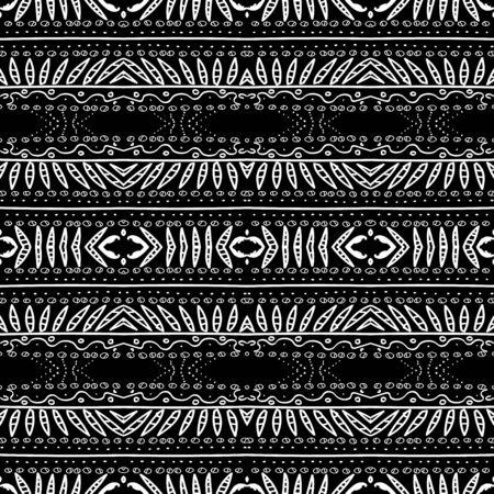 Graphite Mexico Stripe Drawn Vector Seamless Pattern. Ikat Trendy Wallpaper. Smoke Graphic Indian Illustration. Aztec Ornament Mud Background. Ebony Mexican Art Design. Ilustração