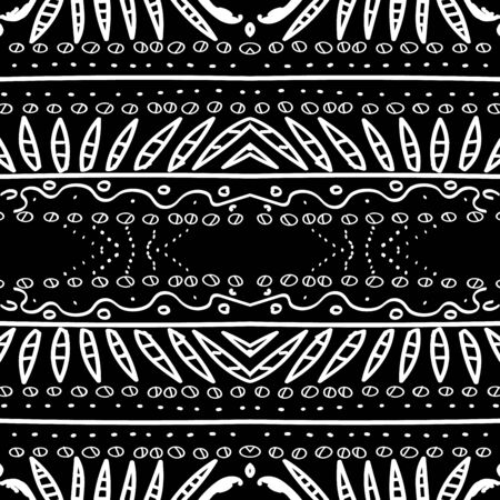 Black Peru Fabric Ethnic Vector Seamless Pattern. Art Native Wallpaper. Ebony Graphic Mexico Background. Rustic Ornament Smoke Texture. White Indian Ikat Print.