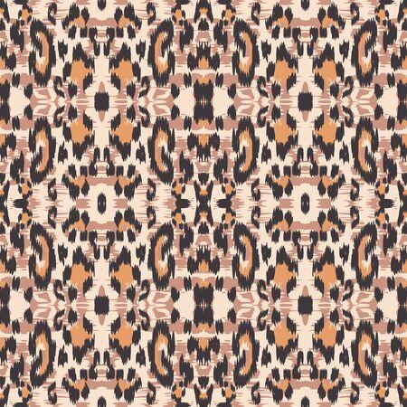 Burnt Panther Bohemian Vector Seamless Pattern. Coffee Handmade Panther Fabric Design Graffiti Print. Ebony Fabric Design Graffiti Background. Chocolate Leopard Handmade Tiles.