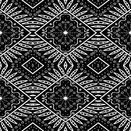 Smoke Peru Zigzag Drawn Vector Seamless Pattern. Art Bohemian Texture. Mud Tribal Mexico Design. Boho Ikat White Pattern. Ebony American Fabric Illustration.
