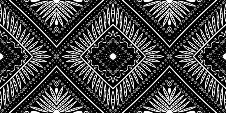Smoke Indian Ikat Geometric Vector Seamless Pattern. Stripe Bohemian Background. White Aztec Mexican Texture. Ethnic Fabric Ebony Wallpaper. Black Mexico Ornament Pattern.
