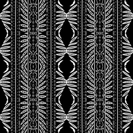 White Peru Art Triangle Vector Seamless Pattern. Fabric Ethnic Texture. Graphite Traditional India Print. Geometric Zigzag Ebony Pattern. Smoke Mexico Ornament Background.