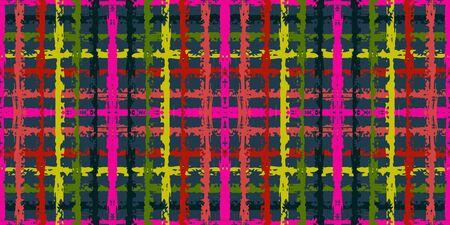 Pink Brush Tartan Vector Seamless Pattern. Yellow Vintage Grid American Design. Bright Mexican Wallpaper. Border Stroke Wallpaper.