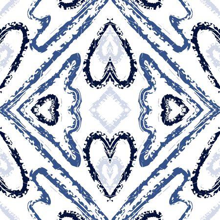 Indigo Geometric Carpet Vector Seamless Pattern. Abstract Batik Aztec Ornament. Ethnic Geometric Print. Blue Tile Navajo Vector Seamless Pattern