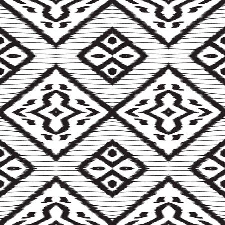 Black Rustic Tribal Vector Seamless Pattern. Graphic Batik Indian Texture. Indian Drawing Background. Black and White Chevron Indonesian Vector Seamless Pattern 일러스트
