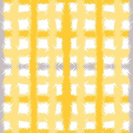 Gray Shirt Creative Vector Seamless Pattern. Ocher Handwrite Plaid Design. Paint Cross Background. Yellow Square Graphic Illustration. 向量圖像