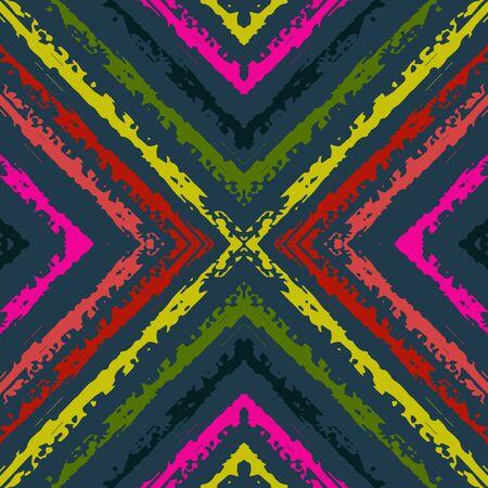 Blue Graphic Chevron Vector Seamless Pattern. Arabic Shibori Indian Wallpaper. Ethnic Graphic Print. Blue Carpet Indian Vector Seamless Pattern