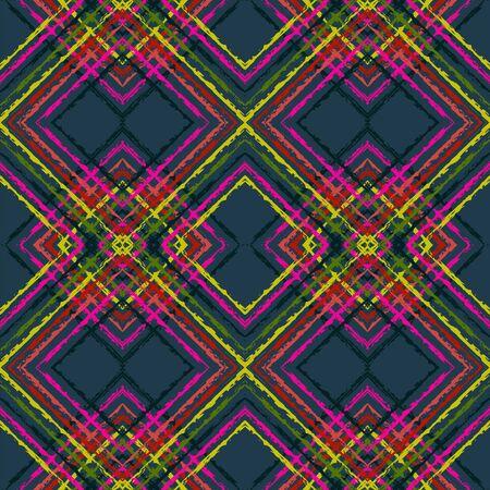 Indigo Drawn Tribal Vector Seamless Pattern. Ogee Chevron Uzbek Texture. Uzbek Retro Background. Indigo Ikat Indonesian Vector Seamless Pattern