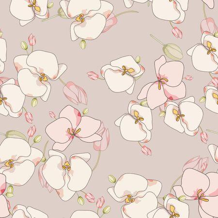 White Garden Elegant Vector Seamless Pattern. Intricate Flowers Pattern. Lily Retro Design. Pink Flower Motif.