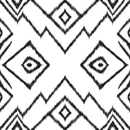 Black and White Ogee Tile Vector Seamless Pattern. Trendy Shibori Japanese Ornament. Japan Ogee Design. Black Tile Uzbek Vector Seamless Pattern