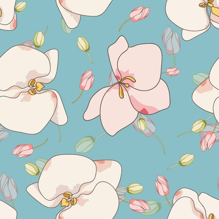 Pink Lily Textile Vector Seamless Pattern. Plant Blossom Backdrop. Orchid Drawn Background. White Flower Motif. Zdjęcie Seryjne - 140855654