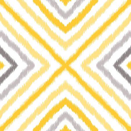 Yellow Batik Repeat Vector Seamless Pattern. Boho Carpet Texture. Navajo Geometric Tie Dye Design. Gray Drawing Indonesian Background. Zdjęcie Seryjne - 140855677