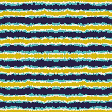 Gloss Trendy Strip Vector Seamless Pattern. Gloss Color Navy Mexican Texture. Hand Scandinavian Design. Line Watercolor Print.
