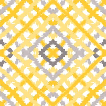 Ocher Tartan Network Vector Seamless Pattern. Gray Creative Plaid Backdrop. Structure Line Background. Curry Cell Tablecloth Wallpaper.