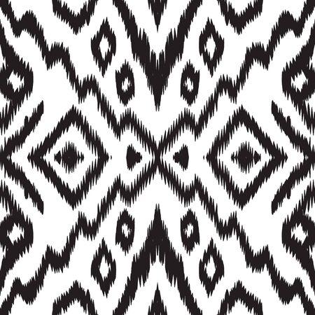 Black and White Fashion Tribal Vector Seamless Pattern. Ogee Tile Uzbek Background. Indian Trendy Texture. Black Chevron Japan Vector Seamless Pattern