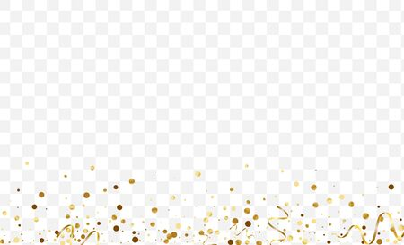 Gold Vector Confetti Background. Isolated Glitter Pattern. Golden Dot Party Illustration. Shine Circle Card. Gradient Bright Texture. 일러스트