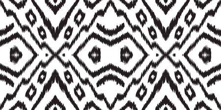Black Vintage Chevron Vector Seamless Pattern. Arabic Chevron Ethnic Design. Indonesian Geometric Design. Black and White Ikat Japan Vector Seamless Pattern Ilustrace