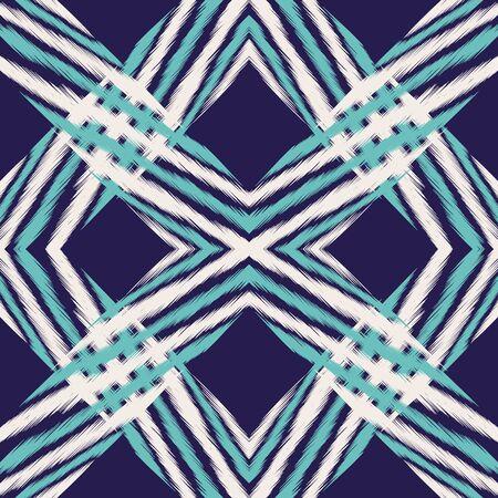 Indigo Fashion Tile Vector Seamless Pattern. Retro Ikat Indian Print. Navajo Geometric Ornament. Blue Tile Aztec Vector Seamless Pattern Ilustracja