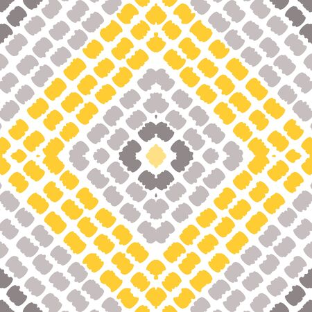 Bright Carpet Stripe Vector Seamless Pattern. Trendy Chevron Background. Japanese Textile Batik Design. Gray Psychedelic Ethnic Texture. Zdjęcie Seryjne - 140855732