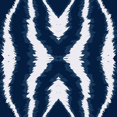 Blue Chevron Psychedelic Vector Seamless Pattern. Japan Geometric Ikat Texture. Fabric Uzbek Ornament. Denim Carpet Watercolor Pattern. Ilustracja