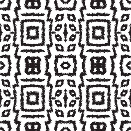 Black and White Abstract Shibori Vector Seamless Pattern. Fabric Tie Dye Traditional Design. Indonesian Psychedelic Print. Black and White Carpet African Vector Seamless Pattern Zdjęcie Seryjne - 140855764