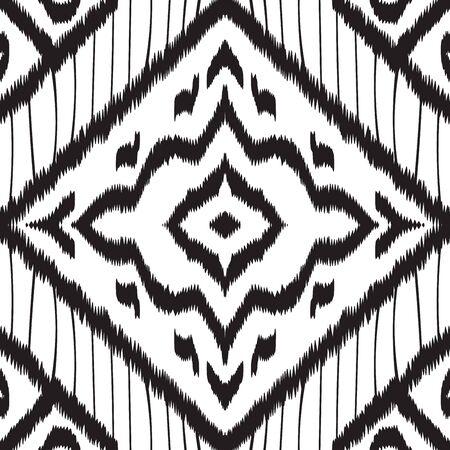 Black and White Vintage Ikat Vector Seamless Pattern. Trendy Tile Traditional Wallpaper. Uzbek Handmade Design. Black Batik Traditional Vector Seamless Pattern