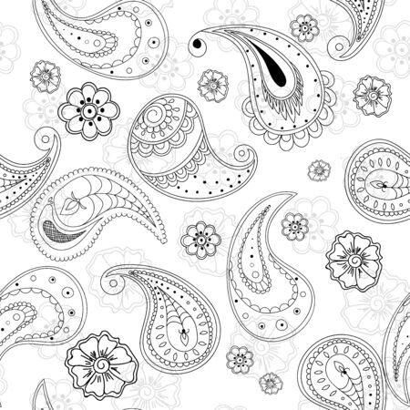 Monochrome Lace Traditional Vector Seamless Pattern. Repeat Ornament Background. Modern Paisley Pattern. Black Turkish Design.