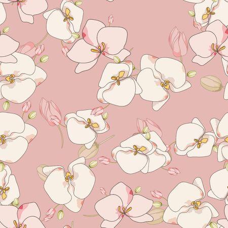 White Flower Retro Vector Seamless Pattern. Watercolor Garden Backdrop. Orchid Art Illustration. Pink Blossom Texture. Ilustracja