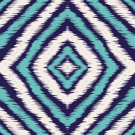 Blue Boho Carpet Vector Seamless Pattern.