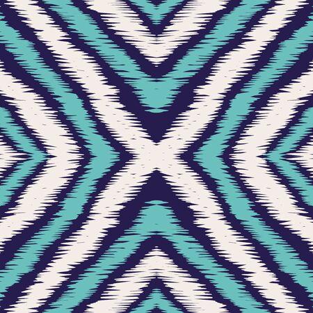 Indigo Stripe Batik Vector Seamless Pattern. Graphic Tribal Uzbek Print. Japanese Rustic Background. Blue Shibori Aztec Vector Seamless Pattern