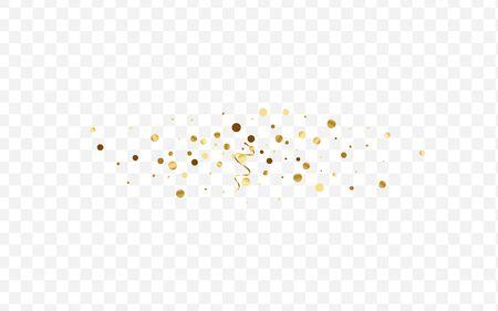 Gold Wedding Confetti Illustration. Shimmer Circle Card. Yellow Glitter Shiny Background. Shine Polka Pattern. Gradient Birthday Design.