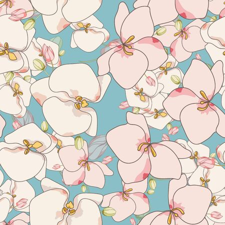 Pink Flowers Tropical Vector Seamless Pattern. Beautiful Flower Design. Blossom Elegance Print. White Lily Background. Ilustracja