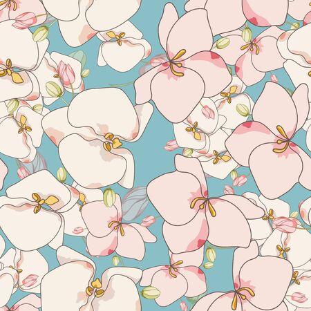Pink Flowers Tropical Vector Seamless Pattern. Beautiful Flower Design. Blossom Elegance Print. White Lily Background. Zdjęcie Seryjne - 140855828