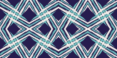 Blue Rustic Carpet Vector Seamless Pattern. Retro Chevron Uzbek Ornament. Uzbek Psychedelic Background. Indigo Shibori African Vector Seamless Pattern Zdjęcie Seryjne - 140855840
