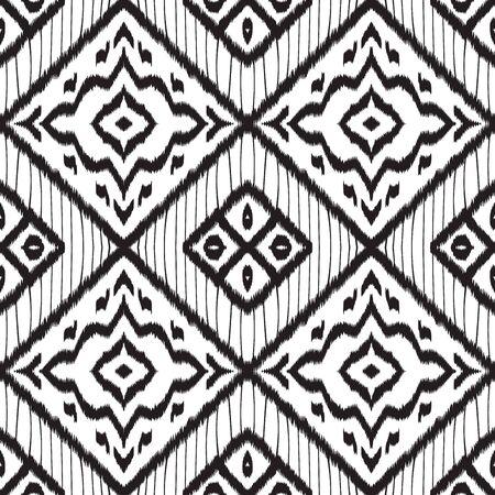 Black Ogee Tribal Vector Seamless Pattern. Boho Tile Japanese Wallpaper. Uzbek Rustic Design. Black and White Tile Japanese Vector Seamless Pattern Ilustracja
