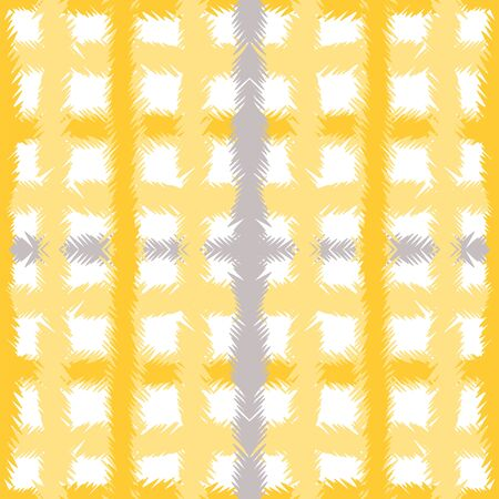 Curry Chevron Fabric Vector Seamless Pattern. Yellow Modern Cell Pattern. Tablecloth Check Wallpaper. Ocher Shirt Graphic Design. Zdjęcie Seryjne - 140855869
