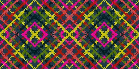 Blue Rustic Tie Dye Vector Seamless Pattern. Fashion Tribal Uzbek Ornament. Indian Handmade Wallpaper. Blue Tribal Traditional Vector Seamless Pattern Ilustracja